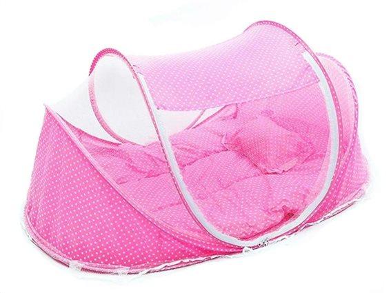 Aria Trade Βρεφικό Αναδιπλούμενο Παρκοκρέβατο σε ροζ χρώμα, 110x60x60 cm