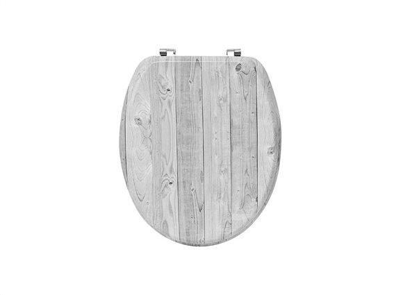 Καπάκι λεκάνης μπάνιου σε σχέδιο ξύλο σε γκρι χρώμα, 46x37.5x5 cm