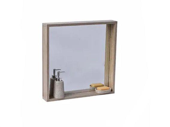 Τετράγωνος Καθρέφτης Μπάνιου με σκελετό MDF ξύλου και ράφι σε καφέ χρώμα, Natural Wood