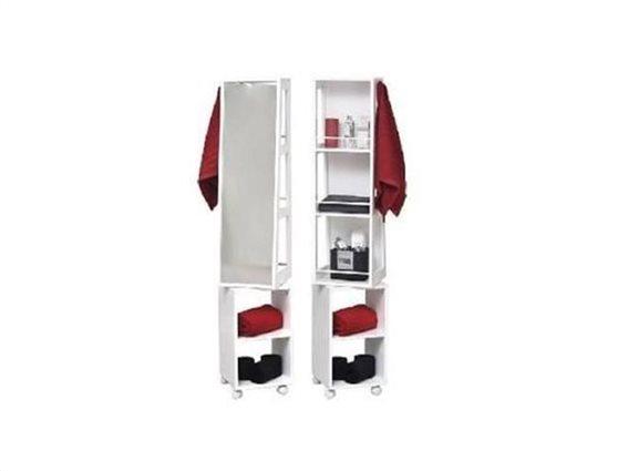 Ξύλινη Περιστρεφόμενη Ραφιέρα Μπάνιου με 3 εσοχές, 2 ράφια και καθρέπτη σε λευκό χρώμα, 30x30x155 cm