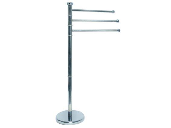 Ανοξείδωτη κρεμάστρα δαπέδου για το μπάνιο, με 3 θέσεις για πετσέτες μπάνιου,  85x48x26cm