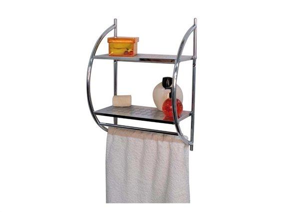 Ανοξείδωτο ράφι μπάνιου με ενσωματωμένη ράμπα για πετσέτα,  50X40X22cm