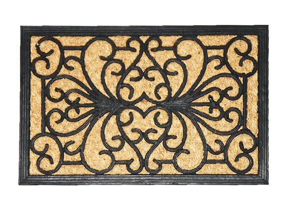 Πατάκι Χαλάκι εισόδου με σχέδιο σε καφέ μαύρο χρώμα 40x60 cm, Sally