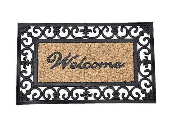 Πατάκι Χαλάκι εισόδου με σχέδιο Welcome σε ανοιχτό καφέ χρώμα, 45x75 cm
