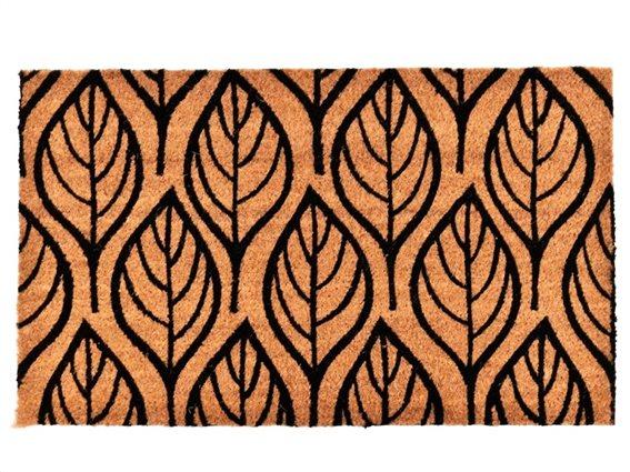 Πατάκι Χαλάκι εισόδου με σχέδιο φύλλα σε καφέ μαύρο χρώμα, 45x75 cm