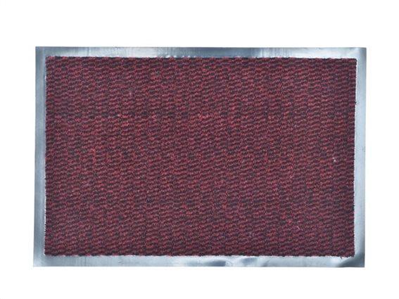 Πατάκι Χαλάκι εισόδου 60x80 cm σε Burgundy χρώμα με ασημί περίγραμμα, Lisa