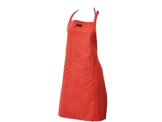 Βαμβακερή Ποδιά Κουζίνας Ολόσωμη με τσέπη σε τερακότα χρώμα, 65x80 cm Chef