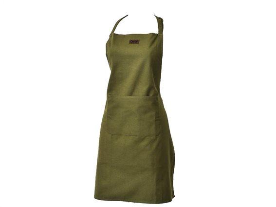 Βαμβακερή Ποδιά Κουζίνας Ολόσωμη με τσέπη σε χακί χρώμα, 65x80 cm Chef