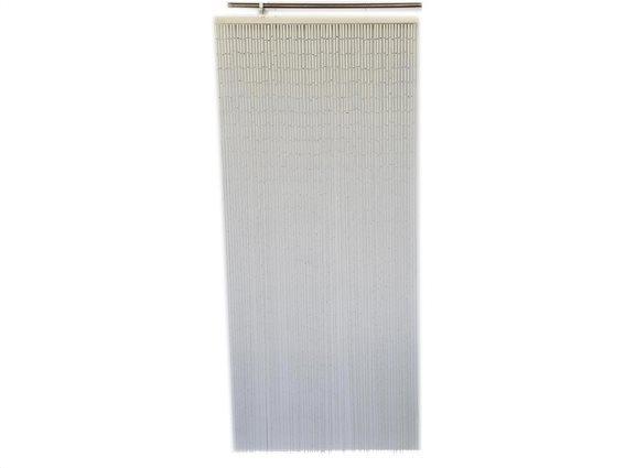 Κουρτίνα Πόρτας από ξύλο Bamboo σε λευκό χρώμα, 90x200 cm