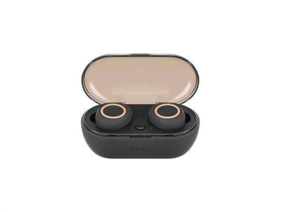 Ασύρματα Ακουστικά In-Ear Bluetooth Handsfree με Μικρόφωνο και θήκη σε Μαύρο χρώμα