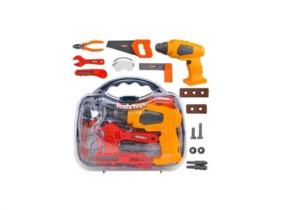 Aria Trade Παιδικό σετ εργαλείων επισκευής σε βαλιτσάκι αποθήκευσης, 8.5x27.5x23.5cm