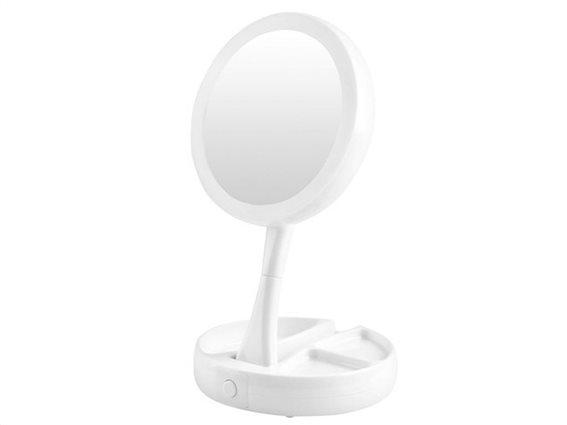 Aria Trade Πτυσσόμενος Μεγεθυντικός καθρέπτης 2 Όψεων με Μεγέθυνση 10x με Φωτισμό LED, 16x29 cm