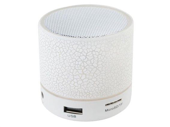 Ασύρματο Φορητό Ηχείο Bluetooth MP3 FM με εναλλασσόμενο φωτισμό σε λευκό χρώμα, 6.1x5.8 cm