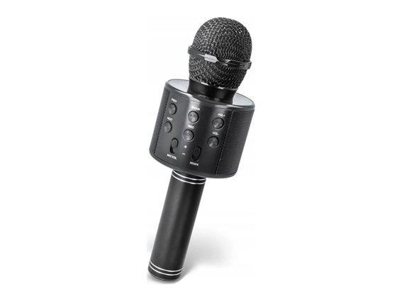 Ασύρματο Bluetooth Μικρόφωνο Καραόκε Karaoke με ενσωματωμένο Ηχείο σε μαύρο χρώμα, 7.5x7.5x23 cm
