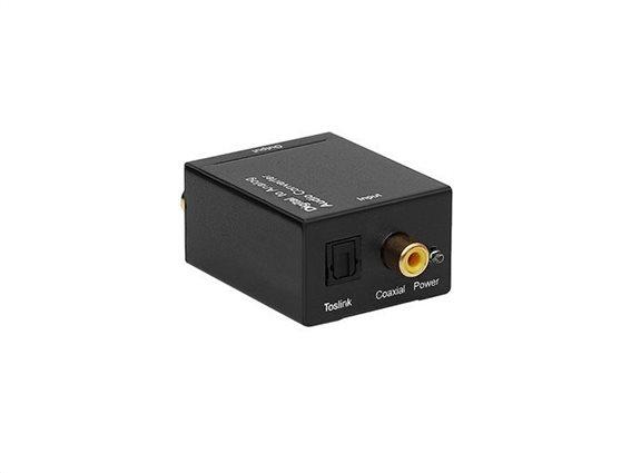 Μετατροπέας Ψηφιακού ήχου σε Αναλογικό με Τροφοδοτικό L/R Converter 2x RCA, 6.5x4.2x2.5 cm