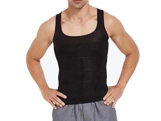 Aria Trade Ανδρικό Φανελάκι Αμάνικο Τιράντα Σύσφιξης Κοιλιάς Slim Fit σε μαύρο χρώμα Large