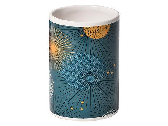 Δοχείο Μπάνιου για Οδοντόβουρτσες Ποτηροθήκη σε στρογγυλό σχήμα με σχέδιο, 7.4x11 cm, Art Deco