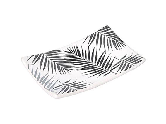 Κεραμική Σαπουνοθήκη Soap Dish σε λευκό χρώμα με γκρι σχέδιο, 14x9.2x2.6 cm, Lodge