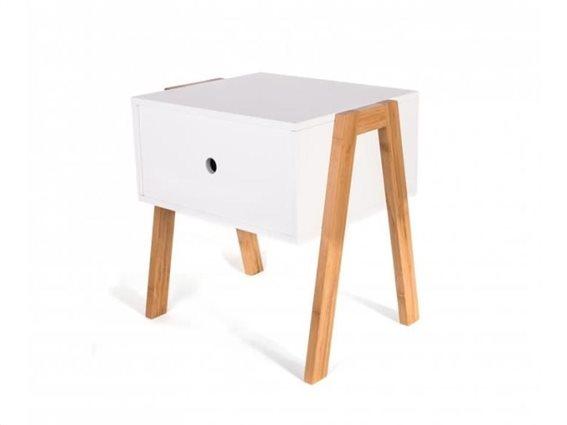 Aria Trade Ξύλινο Έπιπλο Κομοδίνο με ένα συρτάρι σε λευκό χρώμα, 45.3x44x35 cm