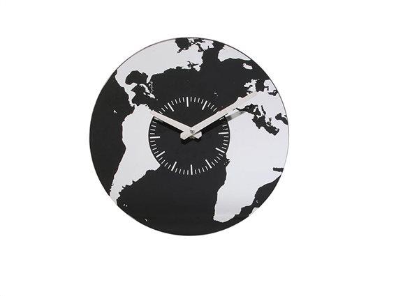 Aria Trade Γυάλινο Επιτοίχιο Ρολόι Τοίχου World Map σε μαύρο χρώμα, 30 cm