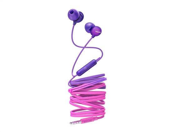 Philips Ακουστικά Handsfree ψείρες In-Ear με μικρόφωνο σε Μωβ χρώμα, SHE2405PP