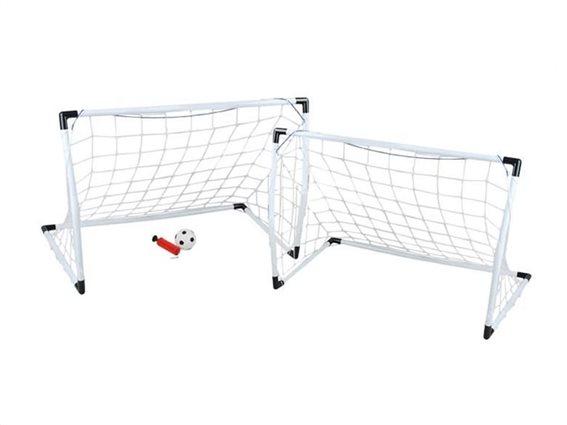 Σετ Πτυσσόμενο Τέρμα ποδοσφαίρου 2 τεμαχίων με μπάλα, 62x31x42 cm