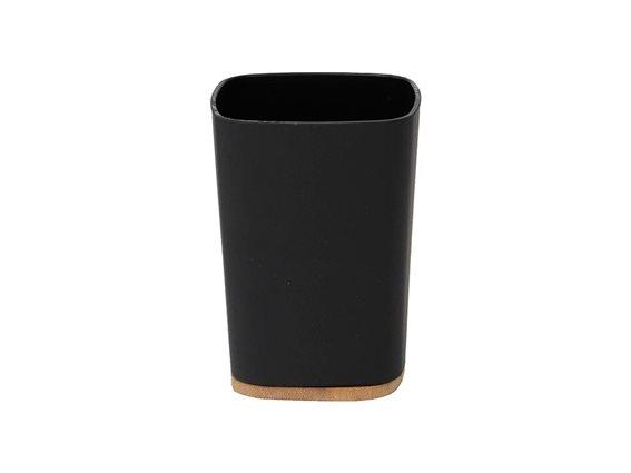 Δοχείο Μπάνιου για Οδοντόβουρτσες σε μαύρο χρώμα με bamboo βάση, 7.50x7.50x10.5 cm