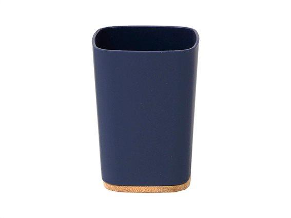 Δοχείο Μπάνιου για Οδοντόβουρτσες σε μπλε χρώμα με bamboo βάση, 7.50x7.50x10.5 cm