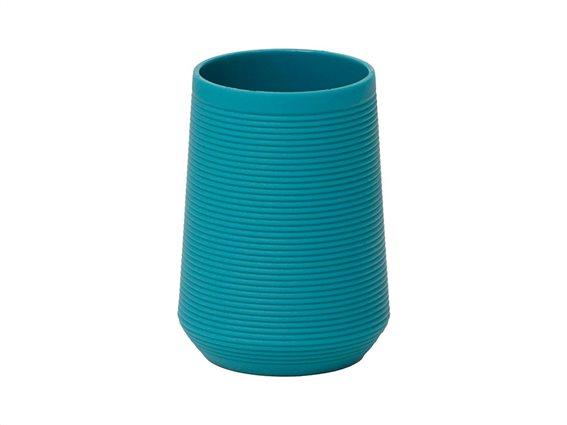 Δοχείο Μπάνιου για Οδοντόβουρτσες σε γαλάζιο χρώμα με ρίγες, 7.50x10.5 cm