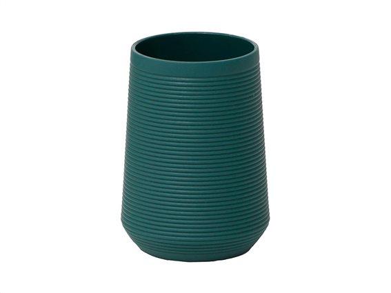Δοχείο Μπάνιου για Οδοντόβουρτσες σε σκούρο πράσινο χρώμα με ρίγες, 7.50x10.5 cm