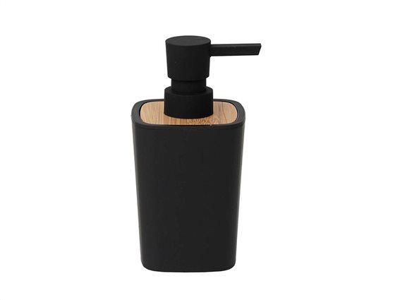 Διανεμητής σαπουνιού Δοχείο για κρεμοσάπουνο 380ml με αντλία σε μαύρο χρώμα, 7.50x7.50x15.50 cm