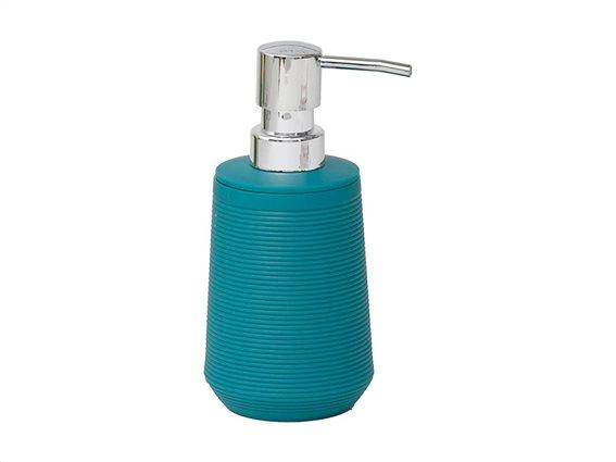 Διανεμητής σαπουνιού Δοχείο για κρεμοσάπουνο 270ml με αντλία σε τιρκουάζ χρώμα, 7.50x7.50x16.50 cm