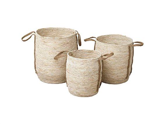 Σετ Καλάθι Απλύτων και Αποθήκευσης 3 τεμαχίων με λαβές από σχοινί σε μπεζ χρώμα, 104 Naturel