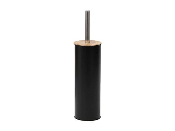 Μεταλλικό Πιγκάλ Μπάνιου σε μαύρο χρώμα με καπάκι από Bamboo, 11x39.5 cm