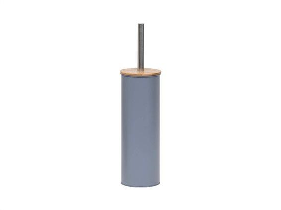 Μεταλλικό Πιγκάλ Μπάνιου σε γκρι χρώμα με καπάκι από Bamboo, 11x39.5 cm