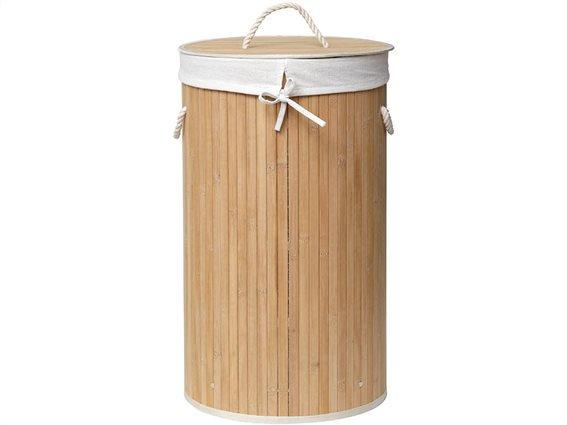 Στρογγυλό Πτυσσόμενο Καλάθι Απλύτων από Bamboo με λινό ύφασμα, 35x60 cm, 195 Bambou