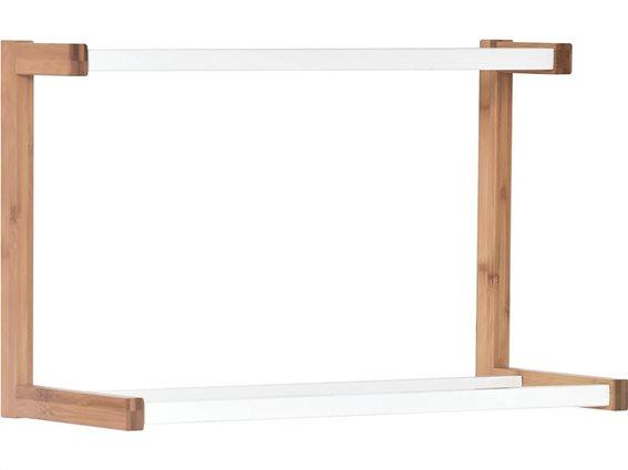 Ξύλινη Κρεμάστρα Μπάνιου για πετσέτες με 3 λευκές μπάρες από MDF, 55x23x35 cm, 210 Bambou Blanc
