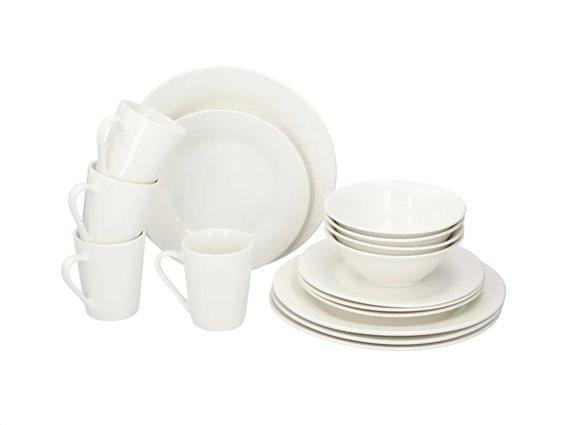 Alpina Σετ Κεραμικό Σερβίτσιο Φαγητού 16 τεμαχίων σε λευκό χρώμα, Dinnerware set