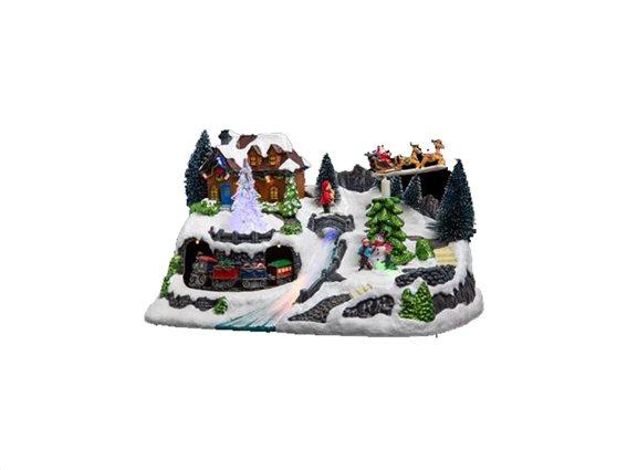 Χριστουγεννιάτικό διακοσμητικό με Led Φωτισμό και με απεικόνιση χιονισμένου χωριού, 30x19x18.50cm