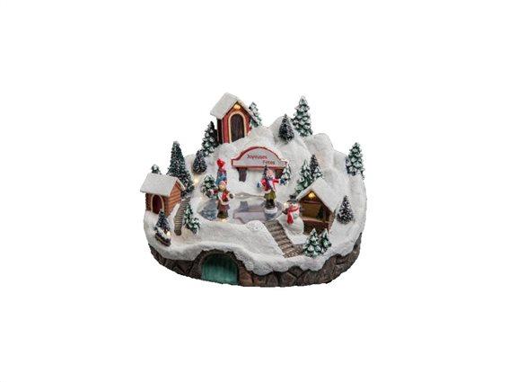 Χριστουγεννιάτικό διακοσμητικό με Led Φωτισμό και με απεικόνιση χιονισμένου χωριού, 23,5x19x15,5 cm