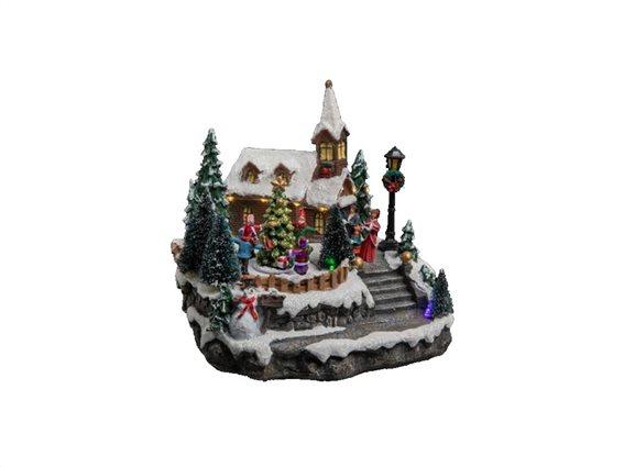 Χριστουγεννιάτικό διακοσμητικό με Led Φωτισμό και με απεικόνιση χιονισμένη Εκκλησία, 22,5x19,5x21 cm
