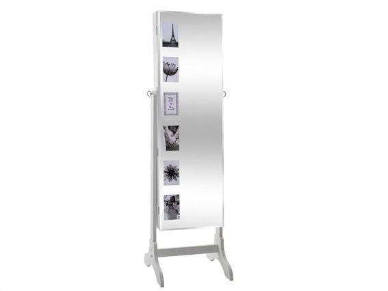 Ολόσωμος καθρέφτης Μπιζουτιέρα με αποθηκευτικό χώρο ντουλάπι σε Λευκό χρώμα, 42x37x139cm