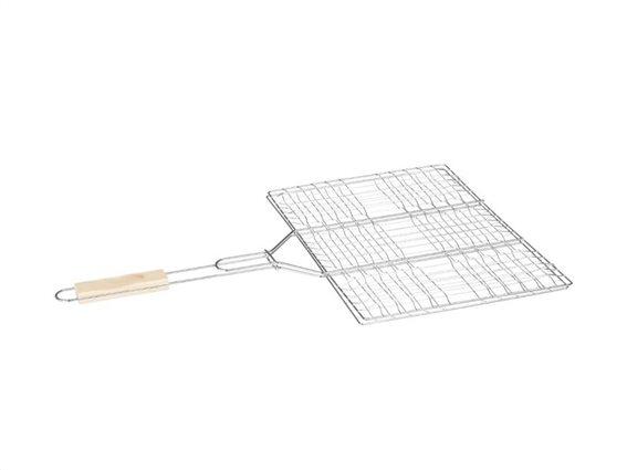 Διπλή Σχάρα Ψησίματος με ξύλινη λαβή, 40x50 cm