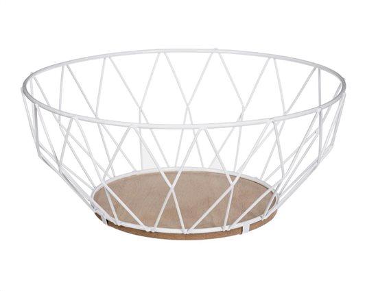 Μεταλλική Φρουτιέρα με ξύλινο πάτο σε λευκό χρώμα, 28x11.5 cm