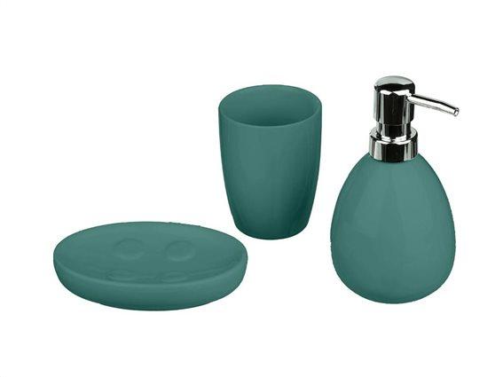 Κεραμικό Σετ Μπάνιου 3 τεμαχίων με Σαπουνοθήκη, Dispenser και Ποτήρι για οδοντόβουρτσες, Sun Green