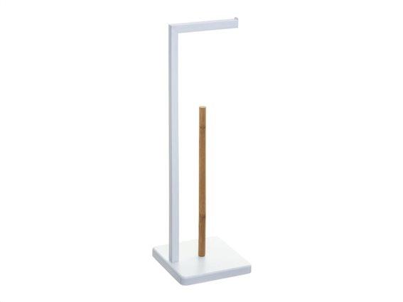 Μεταλλική Βάση για ρολό χαρτί υγείας με Bamboo θήκη για αποθήκευση ρολών, 20x20x64.5 cm
