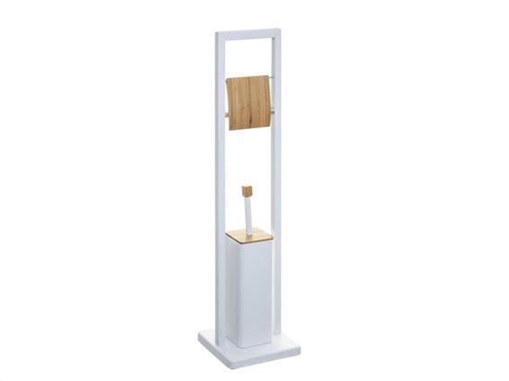 Μεταλλική βάση για χαρτί τουαλέτας με πιγκάλ σε λευκό χρώμα, 20x20x80 cm