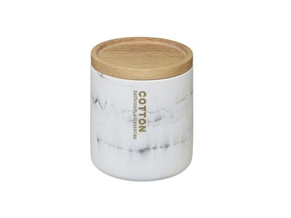 Δοχείο οργάνωσης μπάνιου για μικροαντικείμενα με Bamboo καπάκι και σχέδιο μάρμαρο, 9.5x11 cm