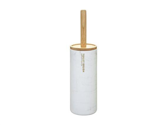 Πιγκάλ Μπάνιου με στρογγυλή βάση, bamboo λαβή και εφέ μάρμαρο, 10.5x38 cm