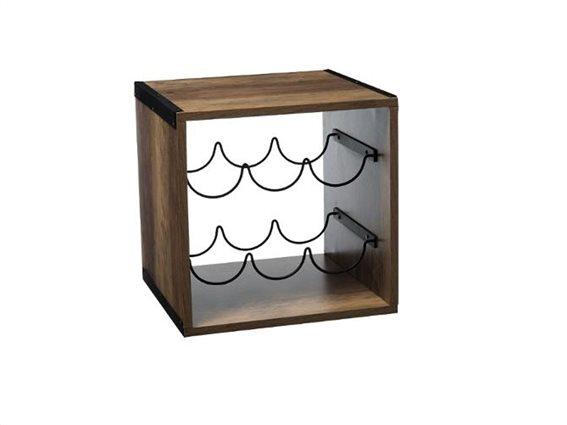 Ξύλινη κάβα κρασιών 6 θέσεων με μεταλλικές βάσεις, διαστάσεων 31x31x31 cm